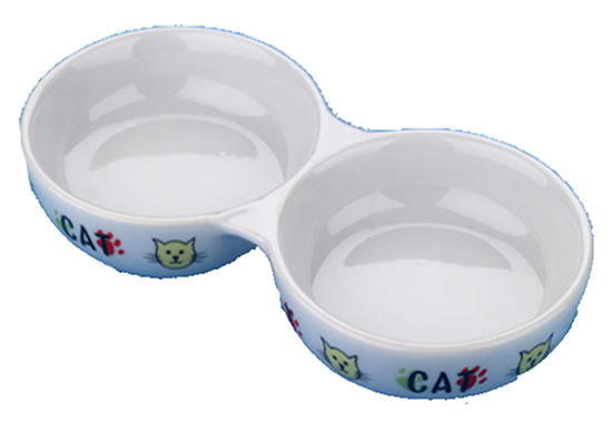 "LB-474 8.5"" PORCELAIN TWIN CAT BOWL"